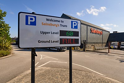 Sainsburys car park sign